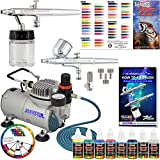 Master Airbrush Multi-Purpose Airbrushing System with 2 Airbrushes, Compressor, 6 Color Paint Kit and Color Mixing Wheel
