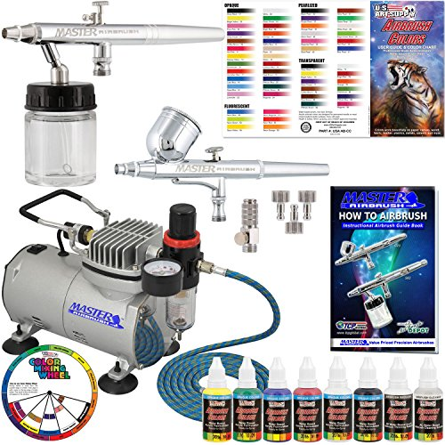Master Airbrush Multi-Purpose Airbrushing System with 2 Airbrushes, Compressor, 6 Color Paint Kit and Color Mixing Wheel by Master Airbrush