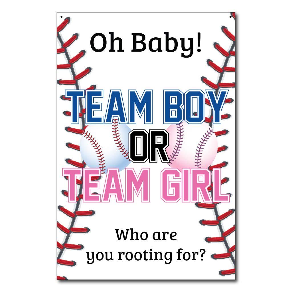 VictoryStore Banner - Gender Reveal Baseball Door Banner, Size 2'x3' Team Boy or Team Girl Waterproof Vinyl Top Corner Grommets
