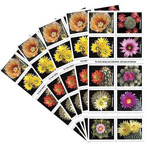 - Cactus Flowers 5 Books of 20 Forever First Class USPS Postage Stamps Celebration Wedding (100 Stamps)
