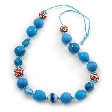 Avalaya Long Sky Blue Wood and Cotton Bead Cord Necklace - 88cm L Kr0LTB