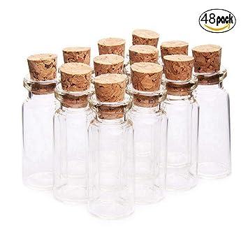 Fiesta Contigo–48 Unidades Mini Botellas de Cristal con Tapones de Corcho/ Mensaje/