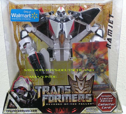 Transformers Movie Series 2 Revenge of the Fallen Exclusive Voyager Class 7-1/2 Inch Tall Robot Action Figure - RAMJET with 2 Missile Launchers and 6 Firing Missiles Plus Bonus Limited Edition Collector Card