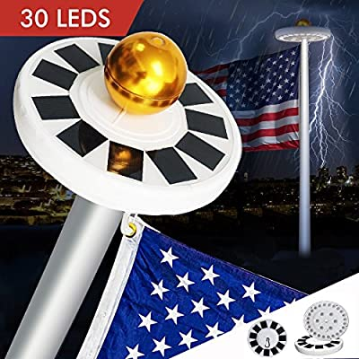30LEDs Solar Powered Flagpole Flag Pole Light IP65 Water-resistant Downlight for Most 15-25ft Flag Pole Outdoor light Solar lamp