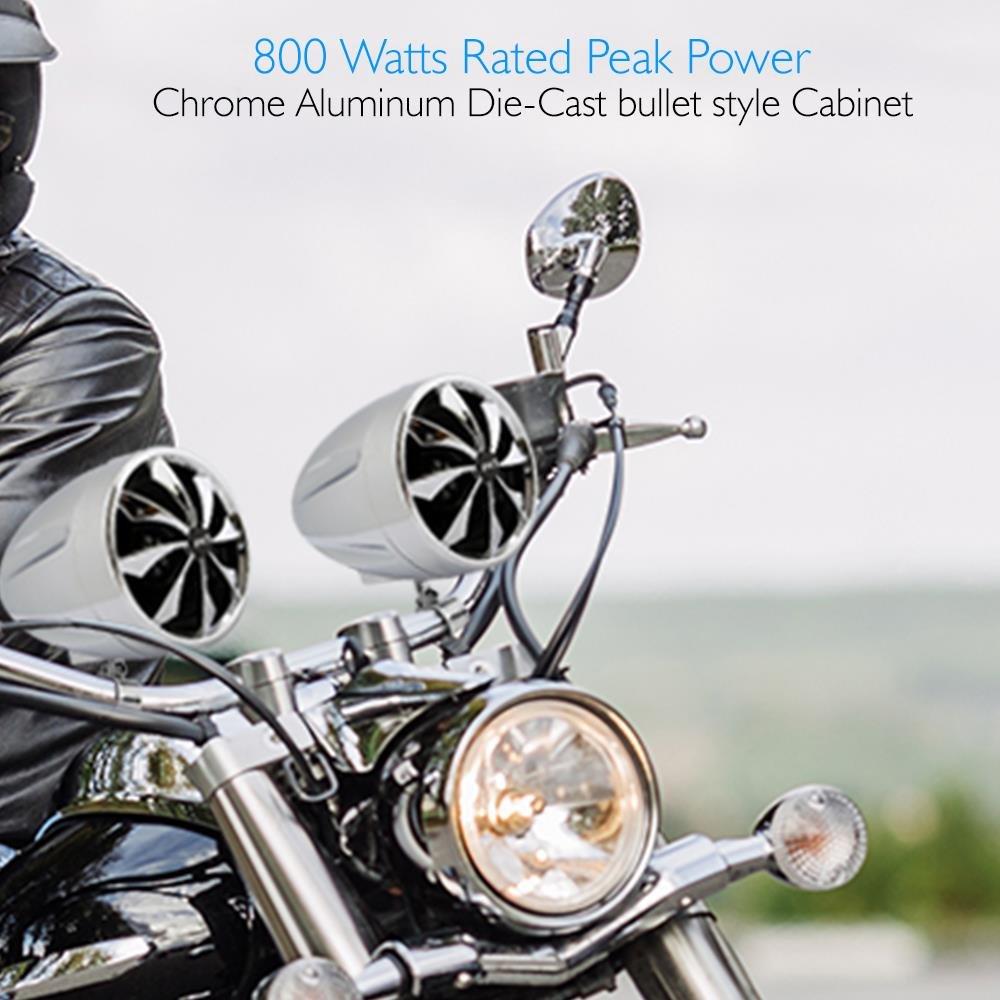 Full Range Waterproof Speaker Set - 800 Watt 3 Inch Amplifier & Audio Stereo System w/Dual Handle Bar Mounts - Aluminum Die-Cast Bullet Style Cabinet for Motorcycle, ATV or Snowmobile - Pyle PLMCS92 by Pyle (Image #2)
