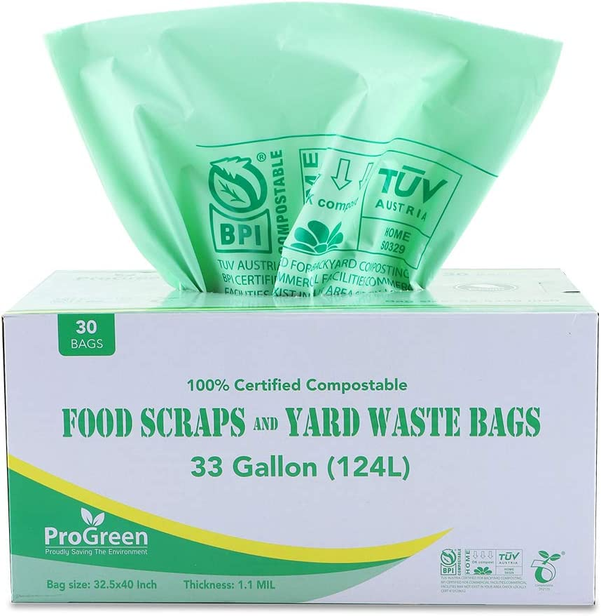 ProGreen 100% Compostable Bags 33 Gallon, Extra Extra Thick 1.1 Mil, 30 Count, Extra Large Lawn and Leaf Trash Bags, Biodegradable ASTM D6400 BPI and VINCOTTE Certified (30)