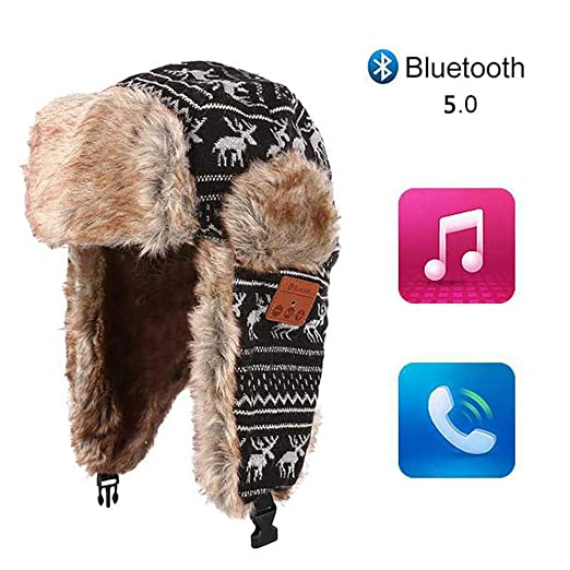 befa7340ff83d Amazon.com  Biback Bluetooth Winter Trapper Hat