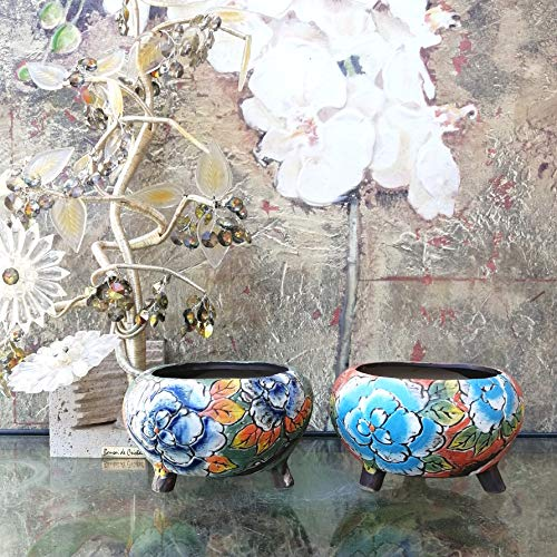Hand Carved & Painted Ceramic Plant Pot with Drainage   Flower Vase Home Decor   Succulent Cactus Herb Planter 8