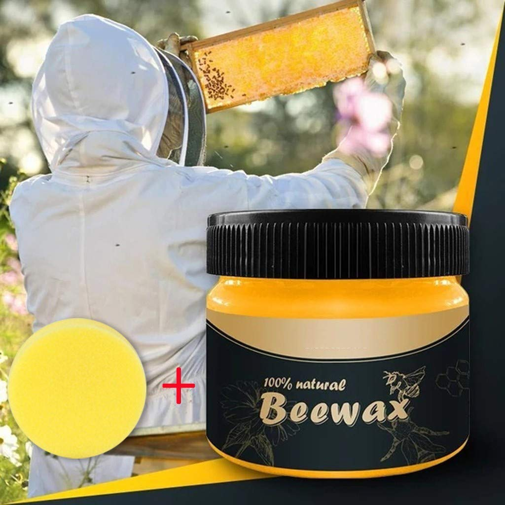 Susenstone Wood Seasoning Beewax Complete Solution Furniture Care Natural Beeswax Polish Home Cleaning, Graffi coprenti, ripristino della Bellezza Naturale del Legno (1pc Beeswax + 1pc Spugna)