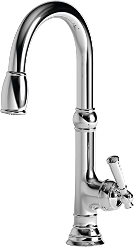 Newport Brass 2470-5103 Jacobean Kitchen Faucet with Metal Lever Handle and Pull, Polished Chrome