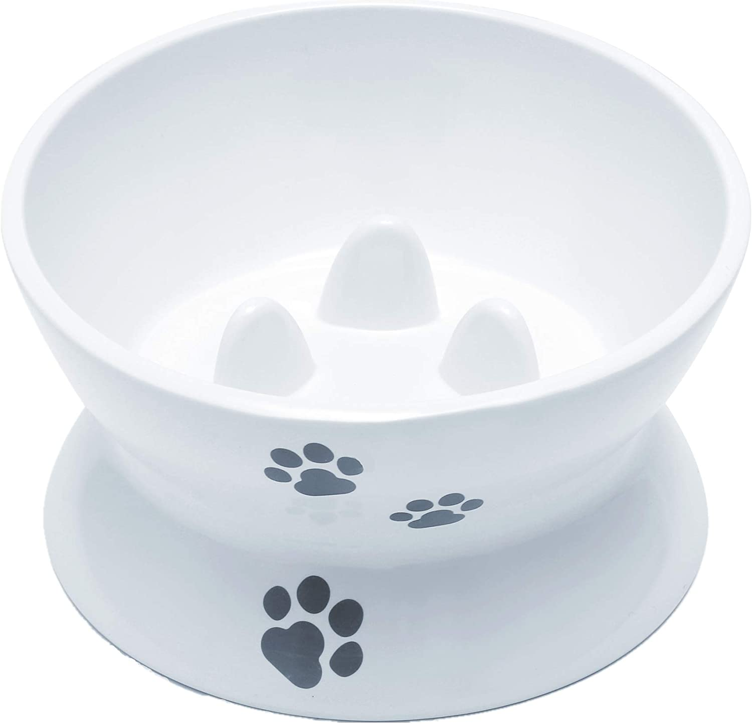RoyalCare Raised Cat Bowl Elevated Slow Feeder No Spill Melamine Stress Free Pet Feeder and Waterer,Backflow Prevention, Gift for Cat