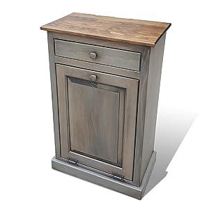 Lancaster's Best Wooden Pull Out Trash Can Cabinet, Handmade Solid Wood Hideaway Trash Holder (Puiter)