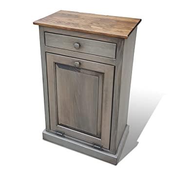 amazon com lancaster s best wooden pull out trash can cabinet rh amazon com Amish Wooden Kitchen Trash Cans Outdoor Trash Can Cabinet