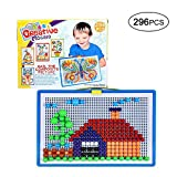Pawaca 296 Pcs Mushroom Nails Mosaic Jigsaw DIY Pile Up Toys - Creative Colourful Building Bricks Toys Mosaic Pegboard Jigsaw Puzzle Game - Intellectual Educational Toys for Children over 3 Years Old