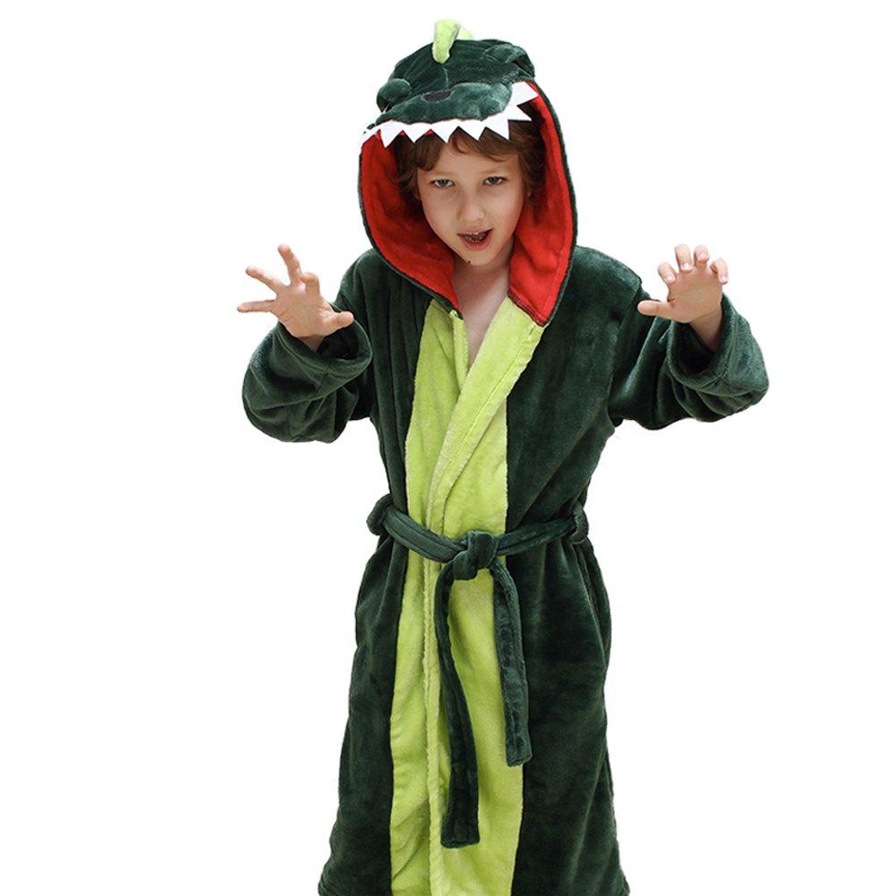 Girls Boys' Plush Hooded Bathrobe - Dinosaur Fleece Robe (Depp Green Dinosaur, 3T-4)