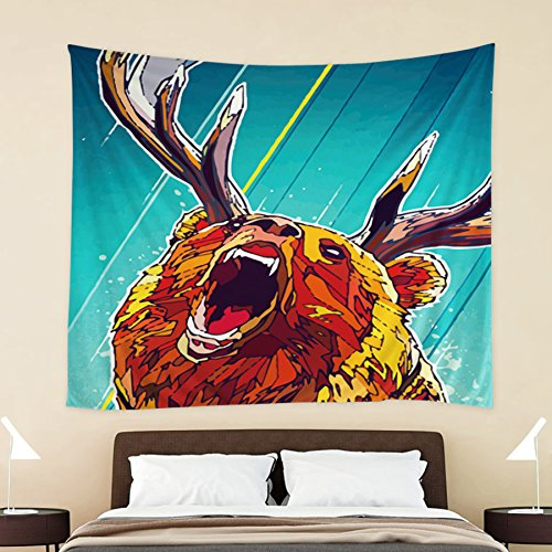 HOKWAY Wolf Elk Octopus Eagle Animal hand-painted Tapestry Wall Hanging Art Decor Polyester Fabric Decorative Bedspread Picnic blanket Beach throw (54'' x 70'', A)