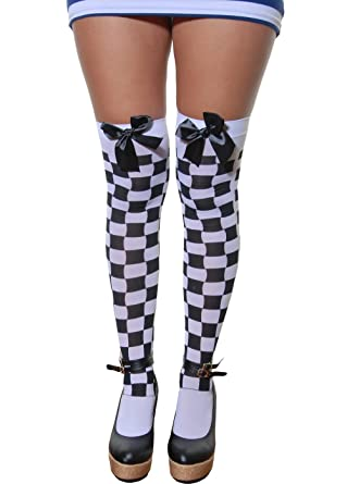 64be076048b Ladies Adult Fancy Dress Thigh High Stockings with Bows White Black Check  Police Checkered By Angies Fashion Ltd  Amazon.co.uk  Clothing