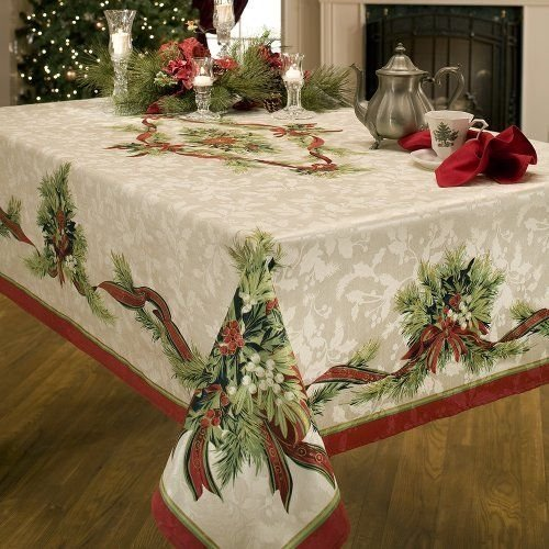 Benson Mills Christmas Ribbons Engineered Printed Fabric Tablecloth, 60-Inch