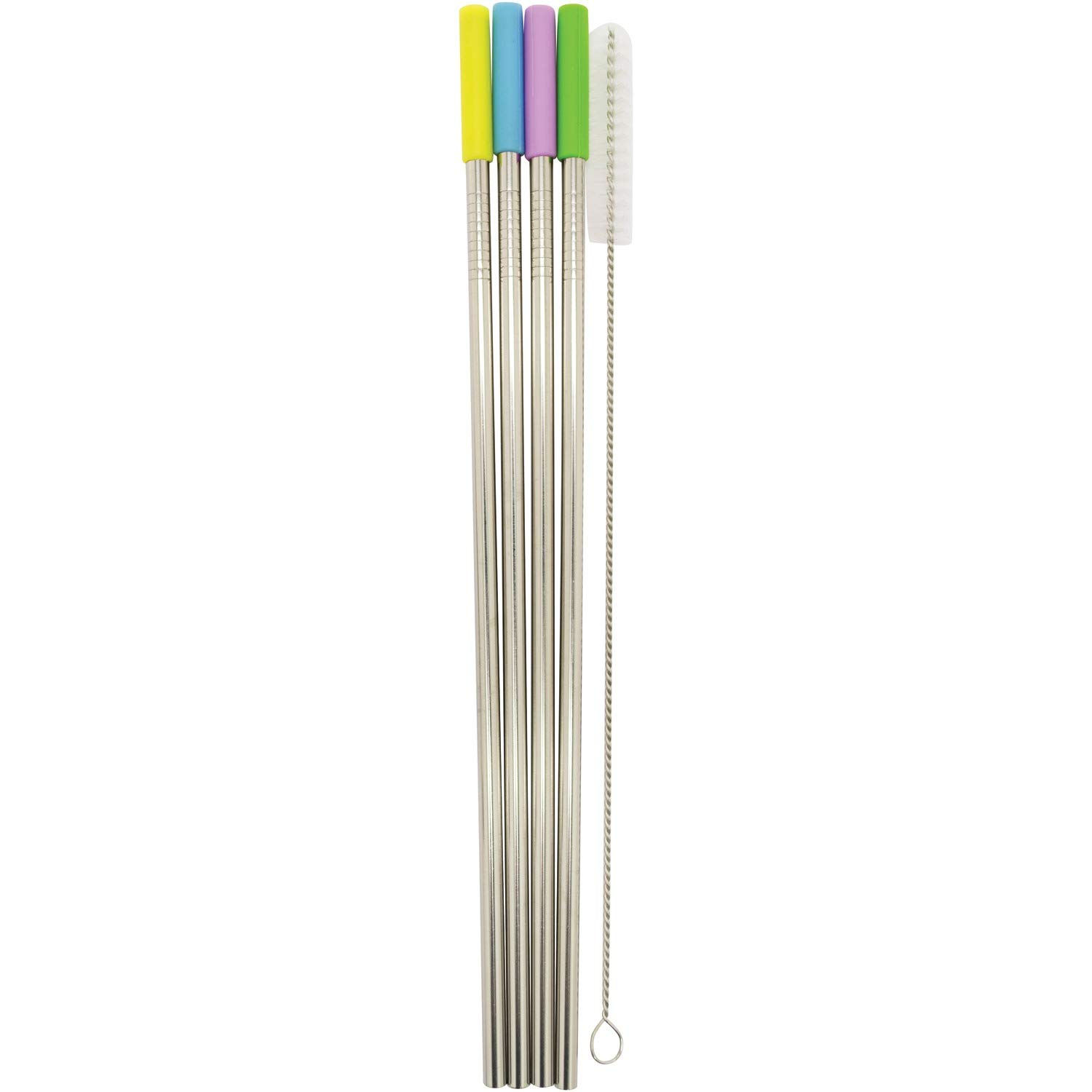 Starfrit T092848 Stainless Steel Reusable Straws with Silicone Tips, 4-Pack (Straight), One Size, Silver
