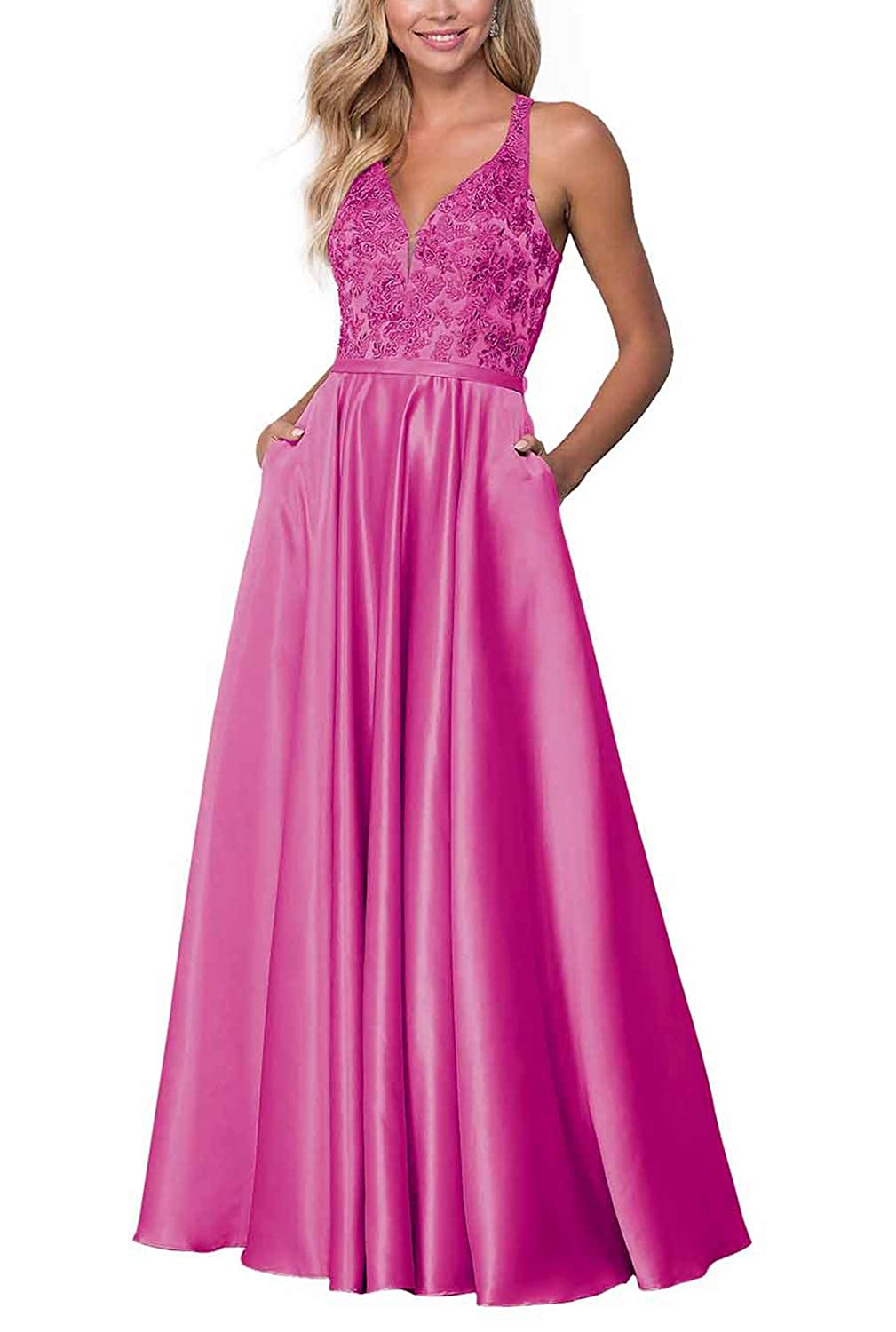 Hot Pink PrettyTatum Long VNeck Prom Dresses for Women Evening Gowns with Embroidered Bodice Skirt