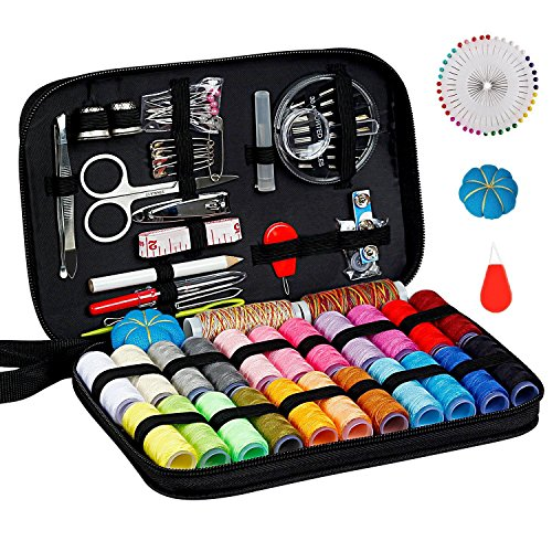 Sewing Kit Art Craft, DIY Handmade Sewing Thread and Repair Kit Supplies Full of 125 Essential Tools in Zip Box Include Scissors, Thimble, Colorful Threads, Needles, Tape Measure, Tweezers by Evedy
