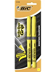 BIC Brite Liner Grip Highlighter, Yellow, Chisel Tip, 2-Pack