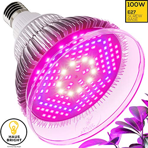 100W LED Grow Light Bulb – with Protective Lens | Full Spectrum Lamp for Indoor Plants, Garden, Flowers, Vegetables, Greenhouse & Hydroponic Growing | E27 Base with 150 LED's by Haus Bright