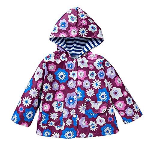 LZH Kids Girls Jacket Waterproof Outwear Raincoat Hoodies by LZH