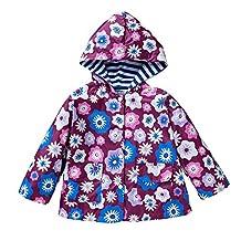 LZH Kids Girls Rain Jacket Waterproof Raincoat Hooded Outwear