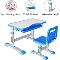 Study Table Desk and Chair Set Adjustable Tilt Angle Height with Storage Drawer for Writing Reading Painting Drawing Studying