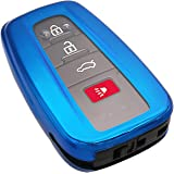 Blue Soft TPU Smart Key Fob Case Holder Jacket Cover Protector for 2018 2019 2020 Toyota Camry RAV4 Avalon C-HR Prius…