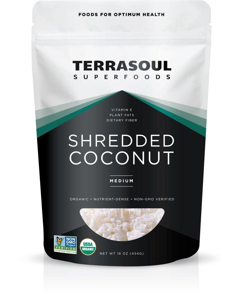 Terrasoul Superfoods Organic Shredded Coconut (Medium), 1 Pound