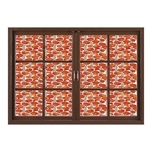 Floral Nouveau Windows - SCOCICI Wall Mural, Window Frame Mural/Floral,Art Nouveau Style Poppy Flowers Retro Spring Summer Garden Foliage Petals,Vermilion Brown Cream/Wall Sticker Mural