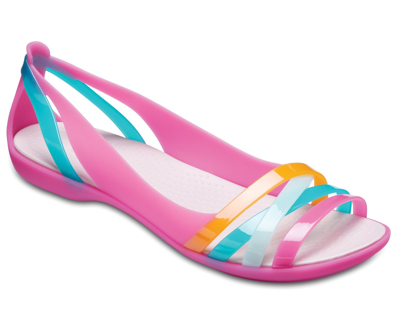 crocs Damen Isabella Huarache Ii Flat Women Peeptoe Ballerinas Paradise Pink/Rose Dust