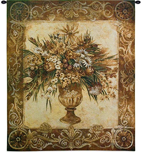 Tuscan Urn Sienna by Liz Jardine | Woven Tapestry Wall Art Hanging | Earthy Floral Vase Theme | 100% Cotton USA Size 53x45
