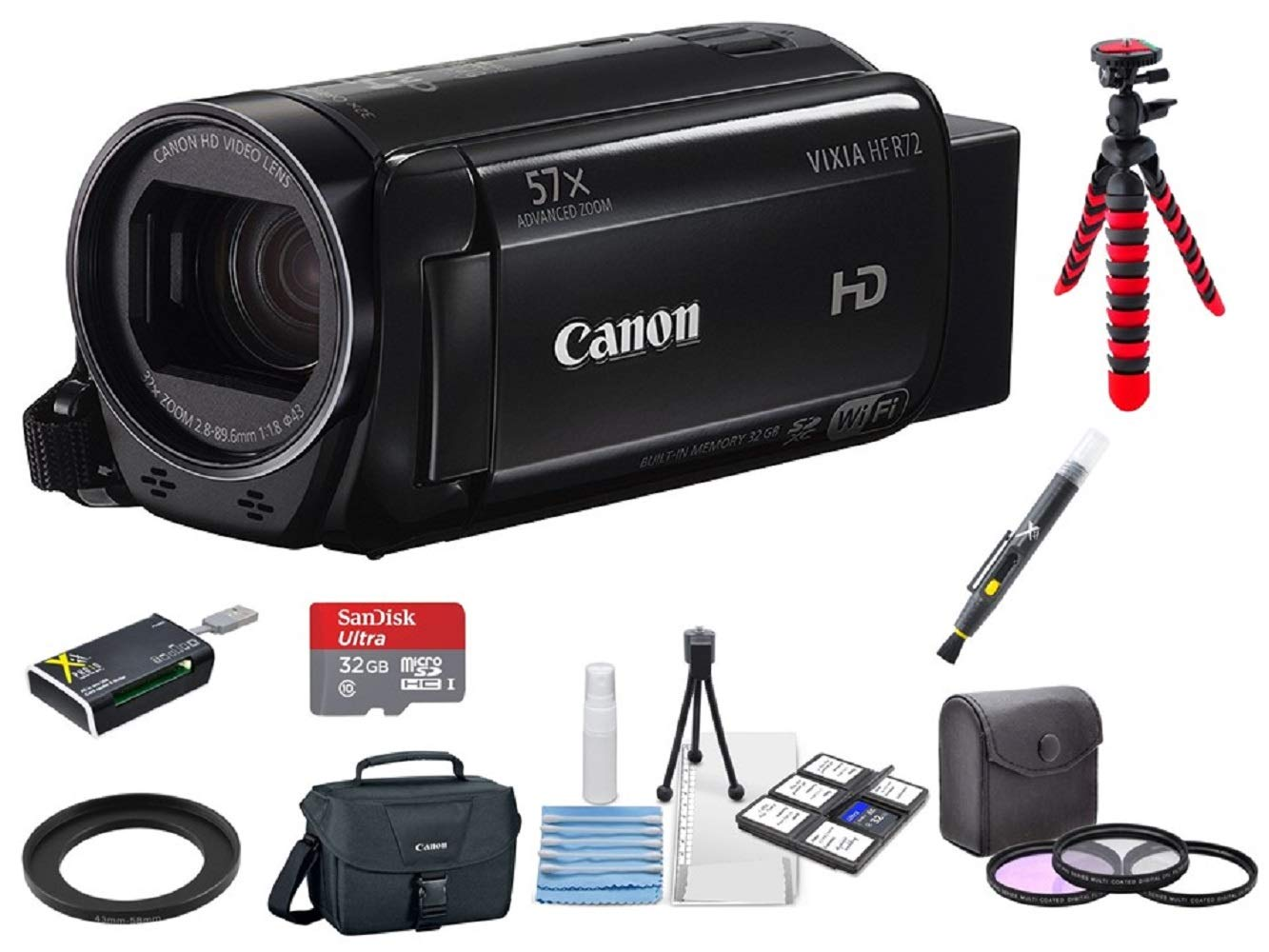 Canon VIXIA HF R72 Camcorder + 3PC Filter Kit + 2 Tripods + 32GB microSD Card + Step up Adapter Ring + Camera Bag + Card Reader + 6PC Cleaning Kit + 2-in-1 Lens Cleaning Pen by Hawthorne