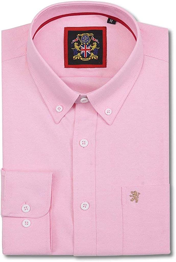 Janeo British Apparel Camicia Uomo Manica Lunga da Indossare con Cravatte Abbigliamento Casual per Weekend o Ufficio Oxford Inglese Colletto Button Down con Tasca e Ricami