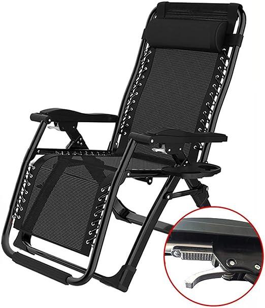 Negro Sillas de jardín Exterior reclinables con portavasos para Adultos Relax Comfort | Tumbona Sillas de Escritorio de Oficina Plegable para tumbonas para Patio de Playa: Amazon.es: Hogar