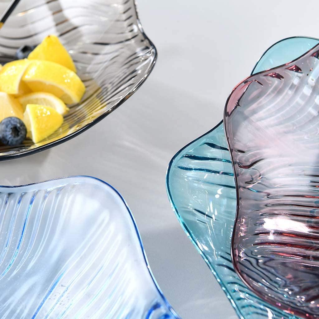 JOYKK Plastic Fruit Snack Candy Bowl Dish Serving Tray Countertop Wave Plate Container Blue