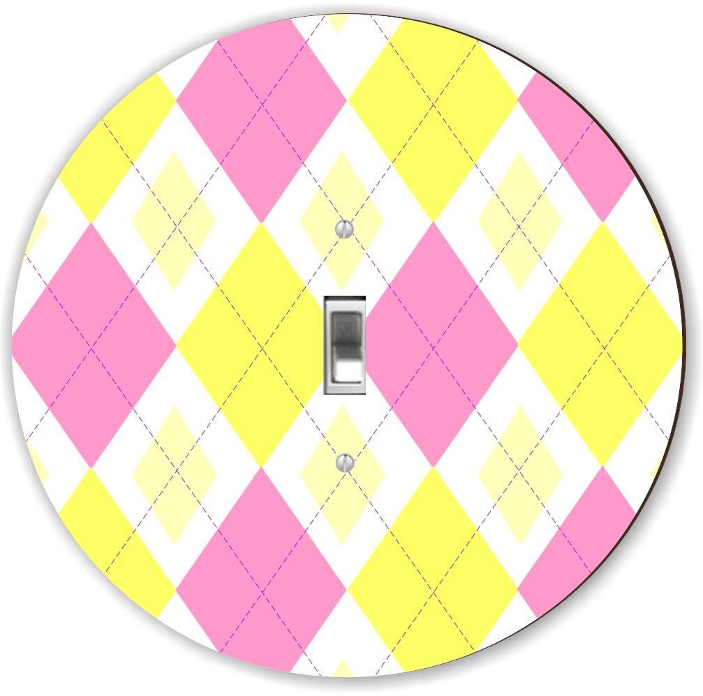 Rikki Knight RND-LSPS-153 Argyle Round - Single Toggle Light Switch Plate, Pink/Yellow