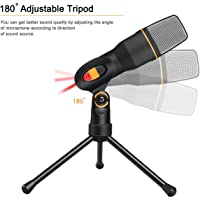 LipiWorld® Condenser MIC 3.5mm Recording Professional Microphone with Tripod Stand for Laptop PC Skype-Black