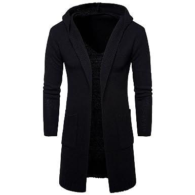 e7a423fc536 friendG Gentleman Long Jacket Parka Men s Long Sweater Trench Coat Cardigan Slim  Fit Solid Color Outerwear