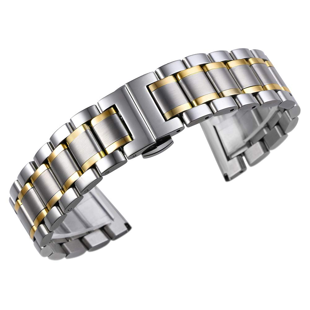 24mm Men's Deluxe Wide Solid Two Tone Silver and Gold Stainless Steel Watch Bracelets Wristbands with Both Curved and Straight Ends