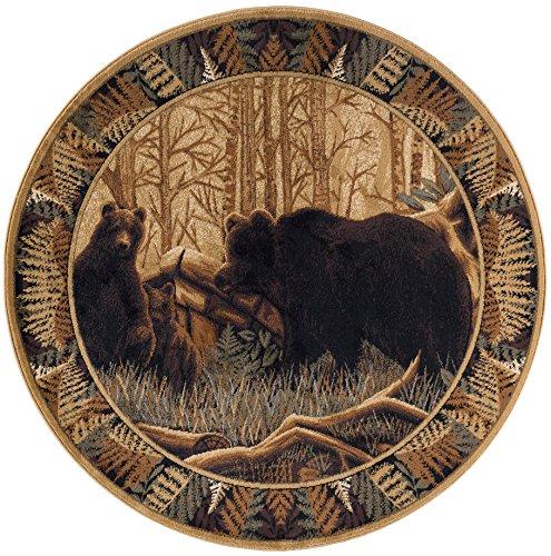 Fern Bear Novelty Lodge Pattern Beige Round Area Rug, 8' Round