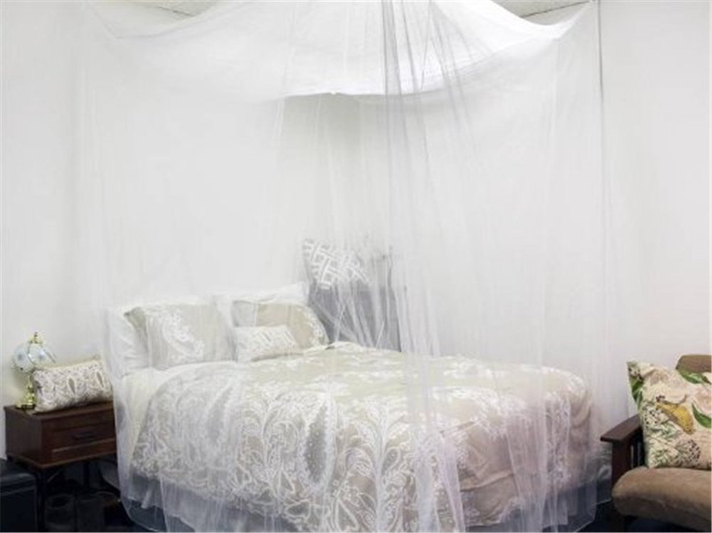 4 Corner Post Bed Canopy Mosquito Net Full Queen King Size Netting Bedding White4-Post Canopy by Best Music Posters (Image #6)