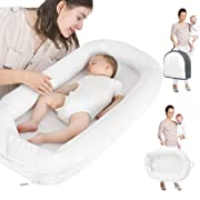 Baby Lounger, Infant Sleeper, Newborn Lounger, Nap Sleeper Seat Baby Bassinet for Bed Travel Bed Safer Comfortable Co-Sleeping with Removable Breathable Cover for 0-10 Months