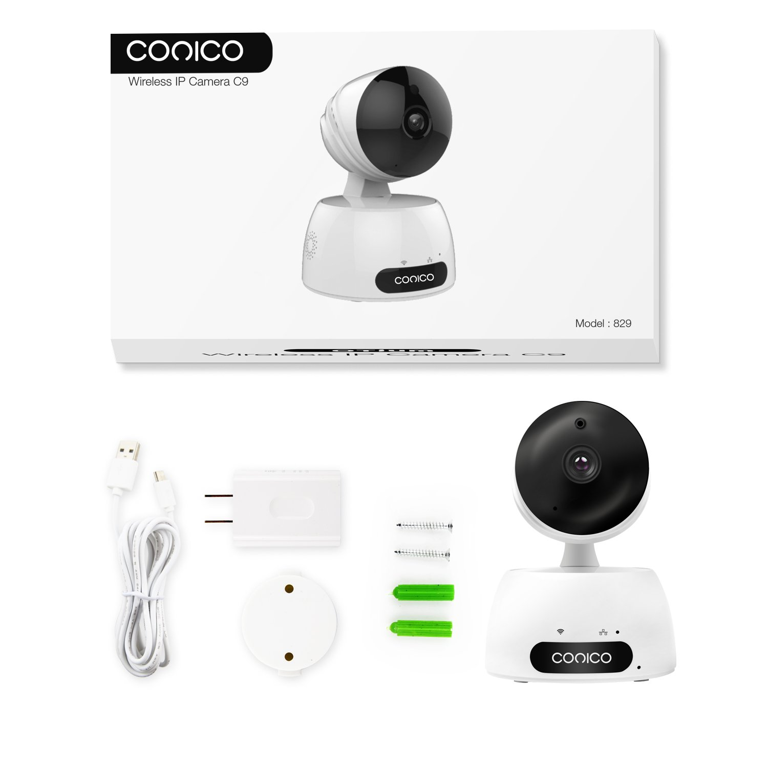 Video Baby Monitor, Conico 1080P Wireless WiFi Surveillance Camera Nanny Cam with Two Way Audio Night Vision Motion Detect Remote Viewing Pan Tilt Zoom for iPhone and Android by Conico (Image #8)