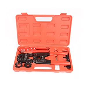 """IWISS Pex Pipe Crimping Tool kit for 3/8"""",1/2"""",3/4"""",1"""" Copper Ring with Free Gauge&Pex Pipe Cutter -Meet ASTM F1807 and Portable"""