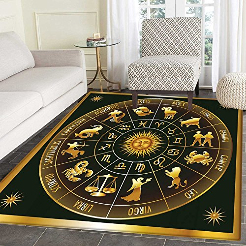 (Astrology Area Silky Smooth Mats Wheel Zodiac Astrological Signs in Circle with Sun Moon Image in Circle Home Decor Area Mat 4'x5' Dark Army Green Gold )