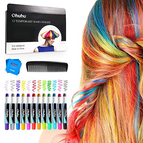 Hair Chalk Pens, Ohuhu 12 Colors Temporary Hair Chalks Salon, Non-Toxic Washable Hair Dye Colors for Party, Cosplay, Theater, Halloween Makeup, Girl's Night Out Mothers' Day -